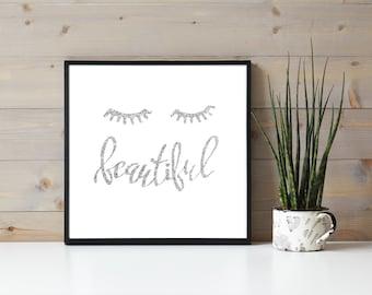 Silver Glitter Eyelash Quote, Beautiful, Eyelash Extensions, Beauty Wall Hanging, Business Branding, Lash Artist Beauty Quote