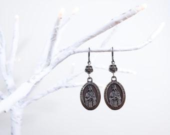 Art Nouveau Style Rhinestones Tule Religious Handmade Earrings Therese Cabochons Aretes Catolicos Catholic Vintage Glass St