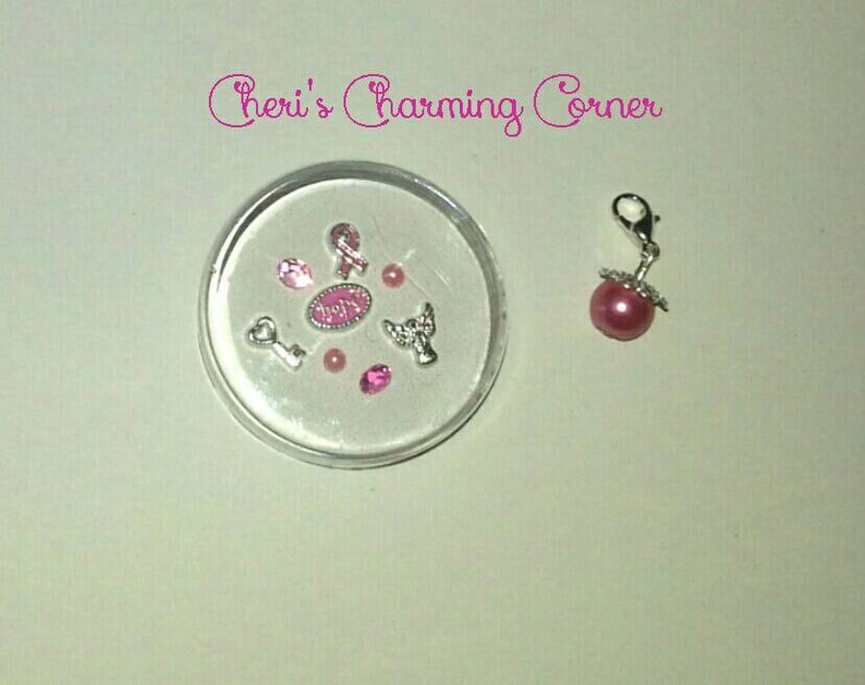 Charming Breast Cancer Pink ribbon awareness living memory locket charm set with 8 foating charms and FREE pearl dangle!