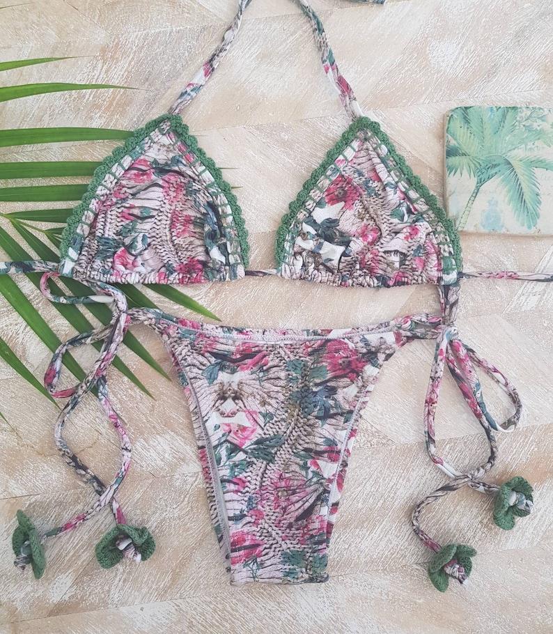 7744c96169 bohemian style crochet bikini/hand made swimwear/triangle/tie up bottom- triangle... bohemian style crochet bikini/hand made swimwear/triangle/tie  up ...