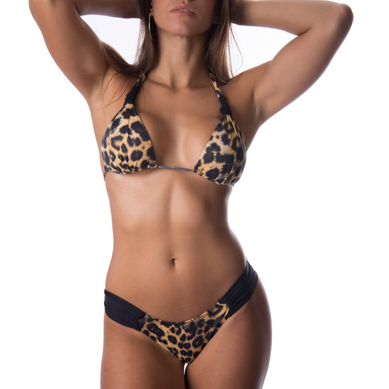 b7373eecd34 Leopard print ruched sides bottom set padded top brazilian
