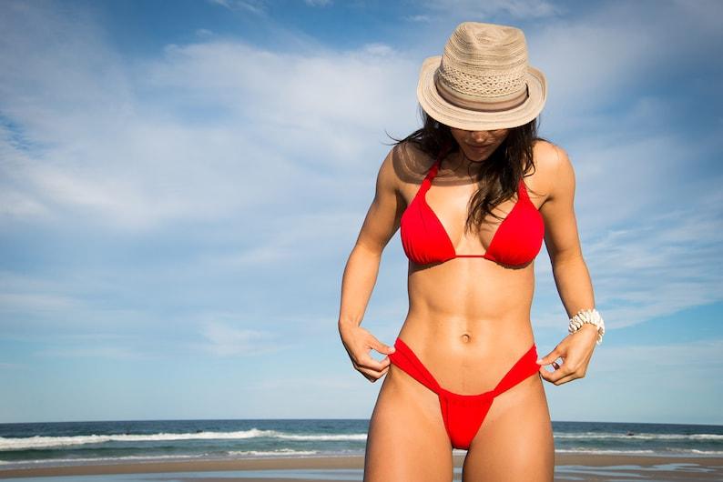 cd92b783569 Red brazilian bikini set/brazilian sliding bottom/padded | Etsy