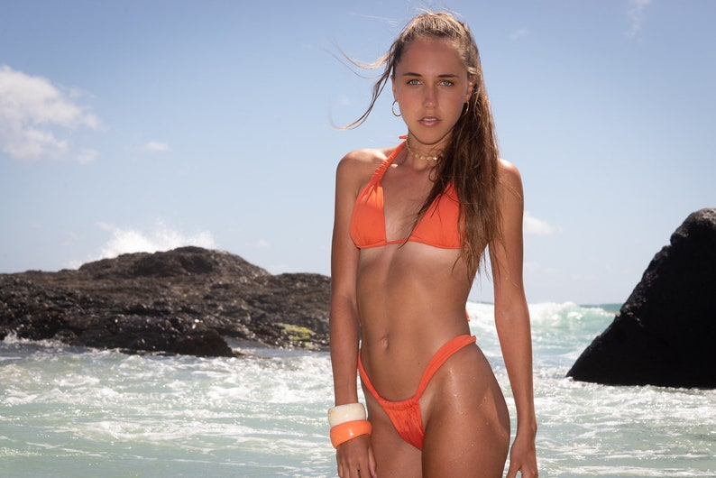 999cb8fda5 Burnt orange swimwear set/brazilian sliding bottom and padded | Etsy