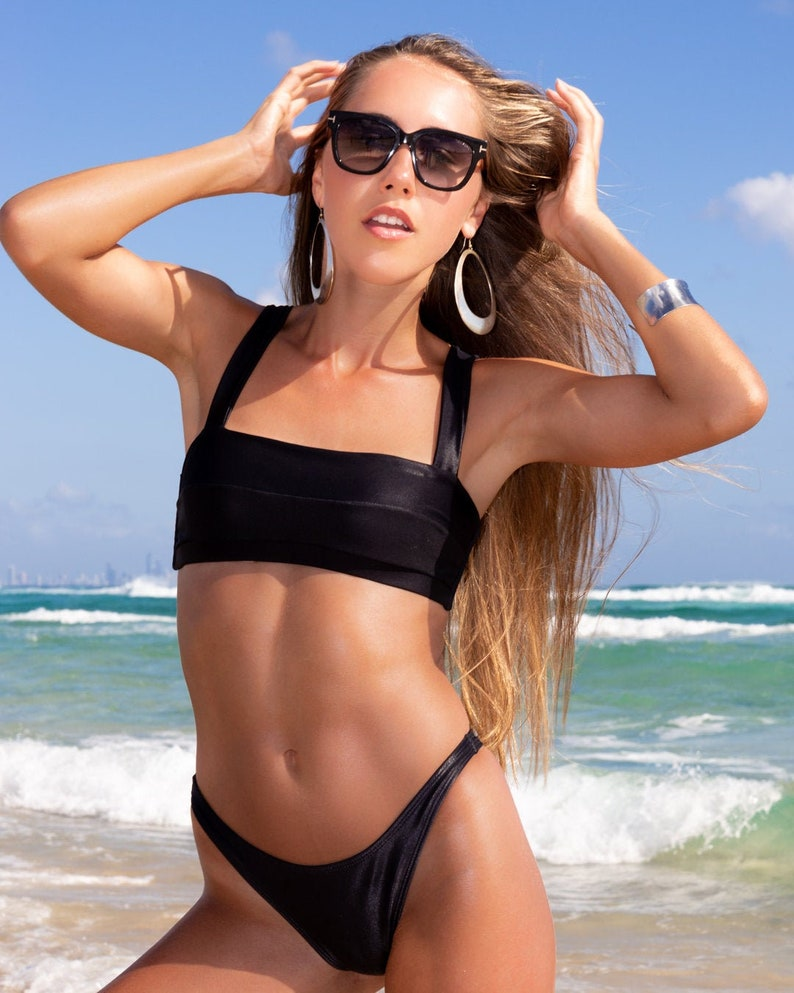 c4e8a03b03d Black shiny high waist 80's swimwear/high waist bottom/day | Etsy