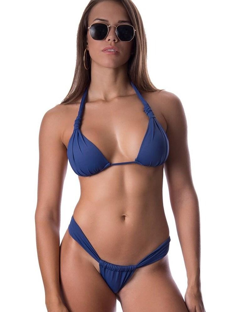 6cee356bcf Navy blue bikini/padded top/sliding bottom/cheeky bottom/sexy | Etsy