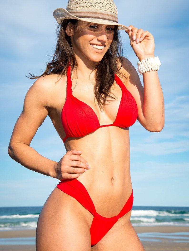 8913a0f8e23 Red brazilian bikini/sliding bottom/beach wear/cheeky | Etsy