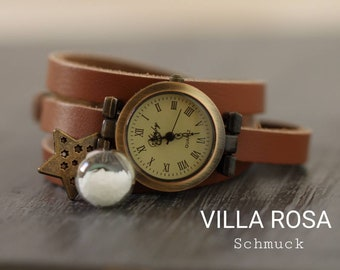 Wrist Watch Genuine Leather/ Pearl