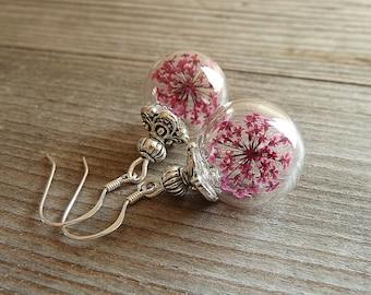 925 silver flower glass ball earrings