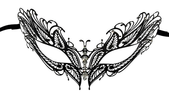 Crown Filigree Black Masquerade Mask With Clear Rhinestones