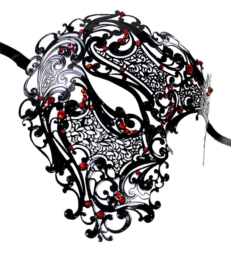 Black Quarter Skull Filigree Masquerade Mask With Red Rhinestones