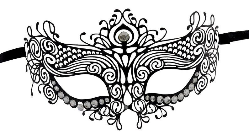 Red Glitter Black Filigree Masquerade Mask with Clear Rhinestones