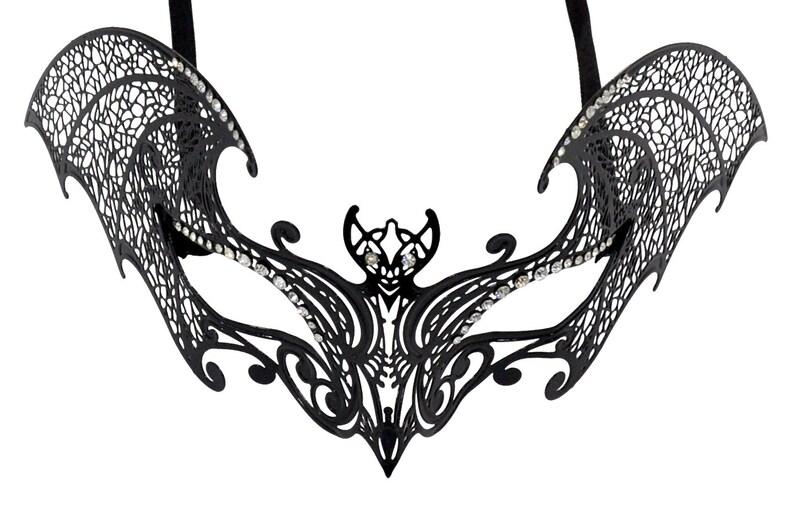 Bat Metal Filigree Black Masquerade Mask With Clear Rhinestones