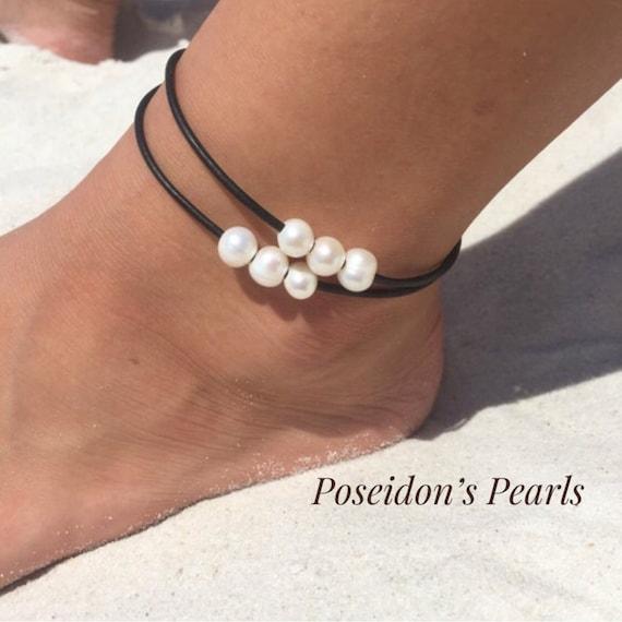Pearl Anklet Ankle Bracelet Summer Jewelry Plus size Anklet Anklets Gift for Her Freshwater Pearl Anklet Anklets for Women