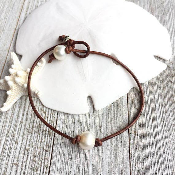 Leather Anklet for Women, Ankle Bracelet for girls, Single White Pearl on  Cognac Leather Cord, gift for teenage daughter
