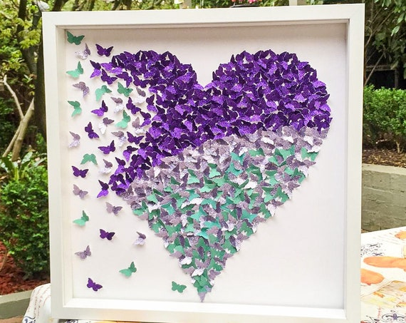 Butterfly wall art: butterfly heart art, 3D Wall Butterflies, 3d Wall art, paper butterfly , Butterfly Wall Art for Nursery, Girl's Room