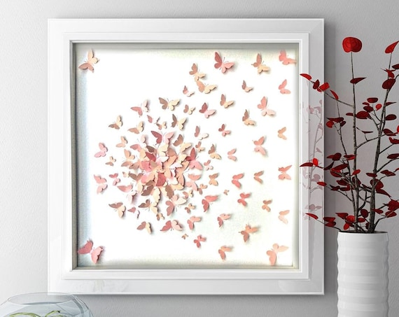 Pastel pink 3 shades butterfly wall art, pink paper butterfly art ,  modern butterfly Decor , gold paper butterfly art, girl room wall decor