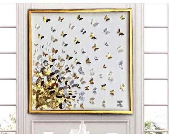 3D Butterflies Collage - Shades of Gold Wall ART Decor