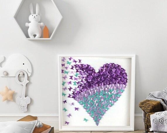 3D Purple and Aqua Glitter Paper Butterflies Heart