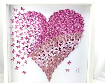Shades of Pink Butterflies Heart- 3D Paper Butterflies