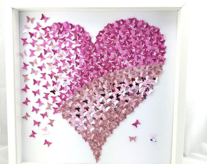 Featured listing image: Shades of Pink Butterflies Heart- 3D Paper Butterflies