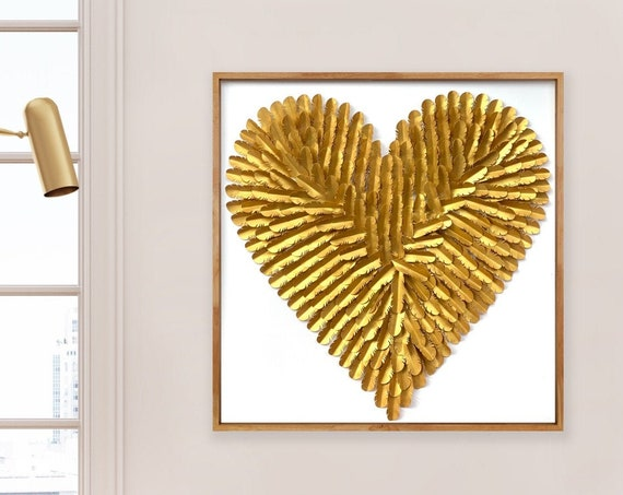 Large 30 Inch Gold paper feather Heart, Gold Heart Wall Art Hand Made