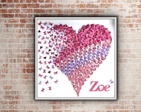 Butterflies Heart Glitter Pink and Purple