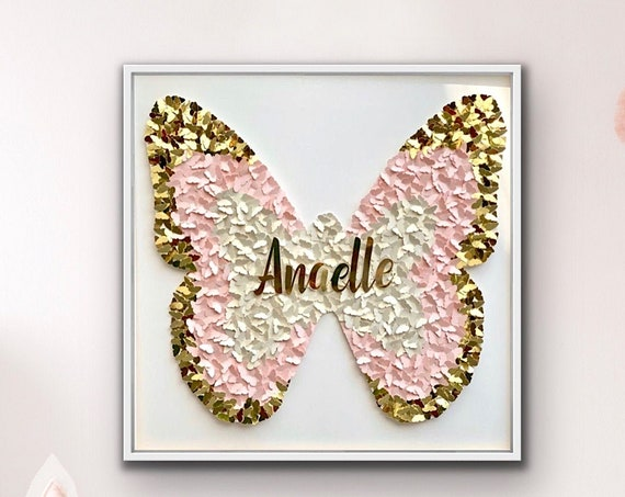 Pink Gold 3D Paper Butterfly Wall Art for bedroom - personalised pink and gold butterfly wall art - 30 inch Modern Room Decor