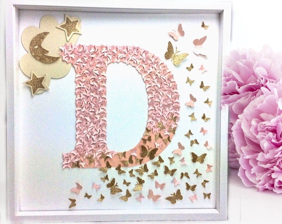 Alphabet Letters, Alphabet nursery letter wall art, Alphabet Butterflies letter , letter decor , letter art , D for Dream , Alphabet nursery
