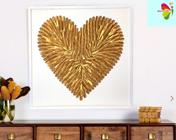 Large Gold Heart, Gold Heart Wall Art, 30 inch feather wall art, feather decor,  | handmade folded paper heart wall art| 3D paper art