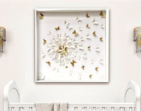 White on White Butterflies with splash of Gold butterfly wall art, papers  butterfly art ,butterfly Decor , gold paper butterfly art