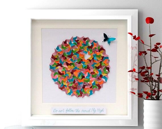 Life Circle paper Butterflies, Fly High , Butterflies circle, inspirational Art , Paper Art Decor ,