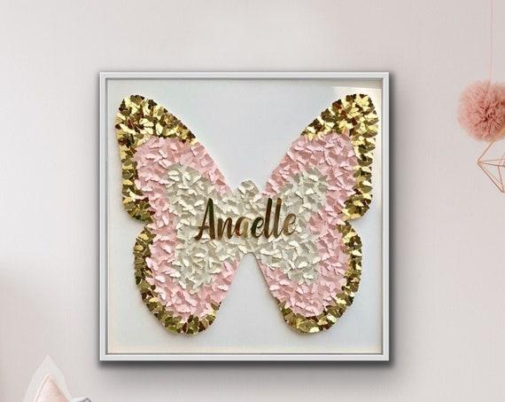 Pink Gold 3D Paper Butterfly Wall Art for bedroom - personalised pink and gold butterfly wall art - 30 inch Modern Room Decor