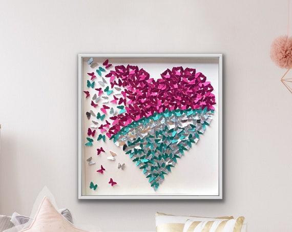 Pink silver and Aqua Glitter Paper Butterflies Heart - Kids room wall art