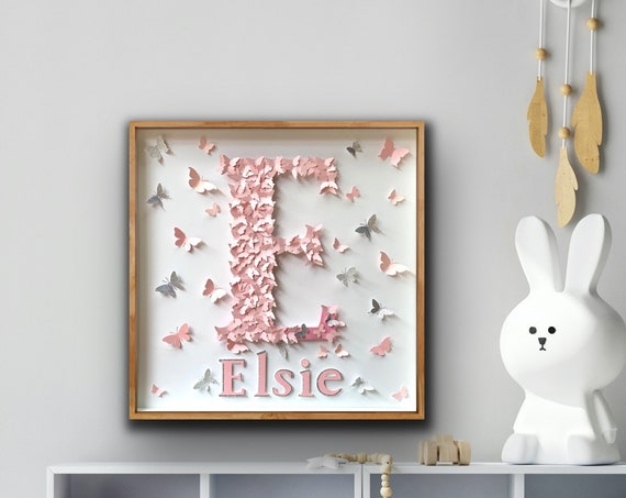 Pastel Pink Butterflies Letters, personalised name Alphabet nursery letter wall art