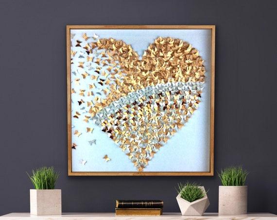 3D Gold and silver Glitter Butterflies Heart - Paper Art