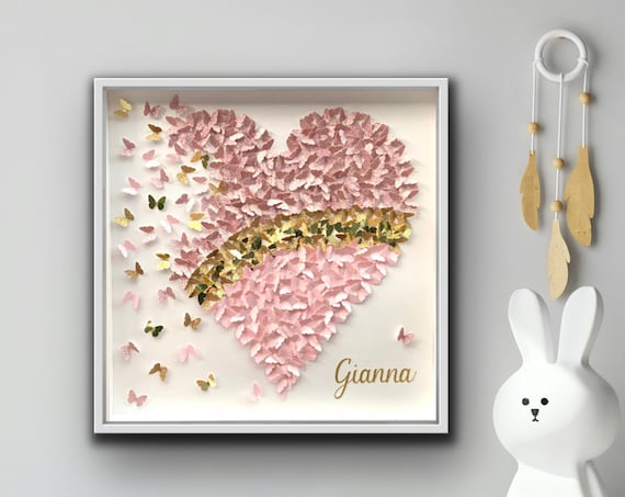 Pink Heart in Glitter , Pink and Gold - 3D Paper butterflies heart