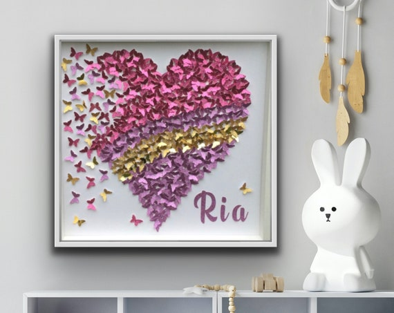 Pink purple Butterfly Heart with Gold accent