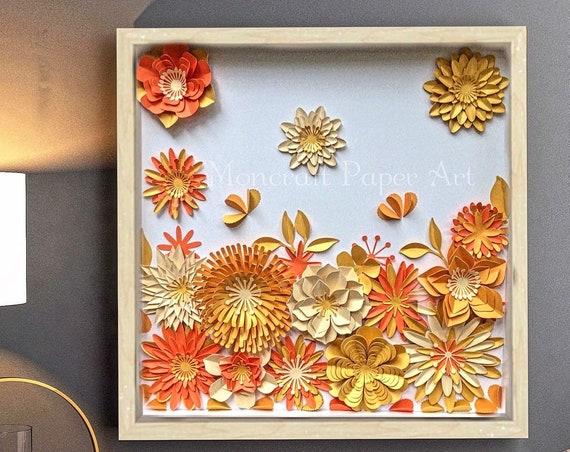 Orange , gold yellow & beige Paper flower Wall Art  , 3D Floral wall Art, nursery wall decor , modern Home decor , floral nursery wall art ,