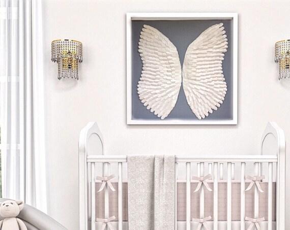 30 Inch white Angel wings,  white angel paper nursery decor, personalised wall art decor, nursery wall