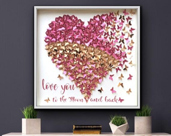 Glitter Pink and Gold Paper Butterflies Heart - Girls room decor
