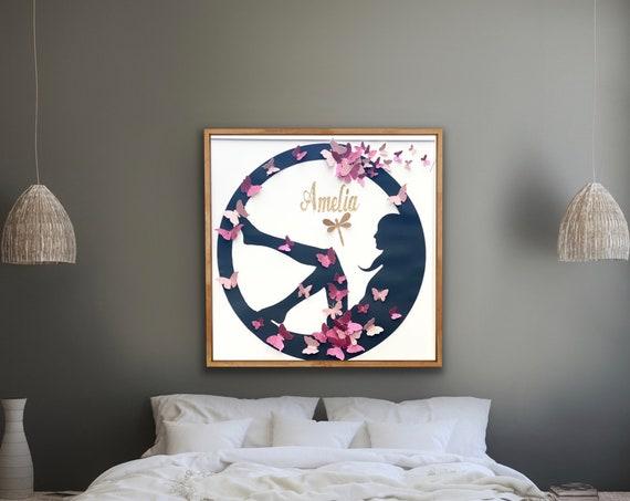 Silhouette design , Gold butterflies Wall Art , Woman Panel Art