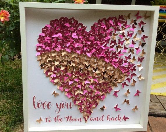 Butterfly wall art: pink butterfly heart , 3D Wall Butterflies, 3d Wall art, paper butterfly , Butterfly Wall Art for Nursery