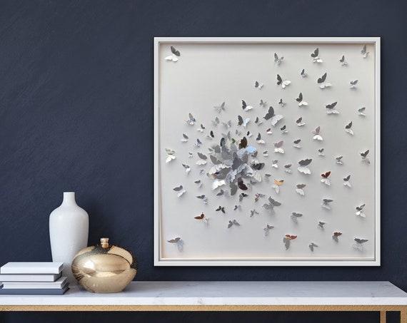 Butterflies Splash Silver Butterflies - Wall Art Decor