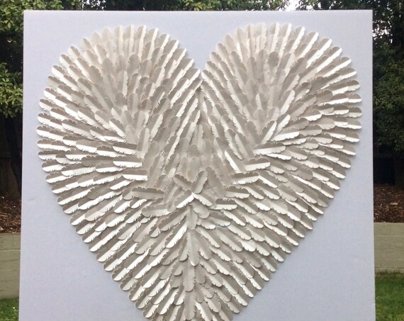 30 Inch white on white feathered heart, feather wall Decor , feather art, paper art decor, paper art, 3D art