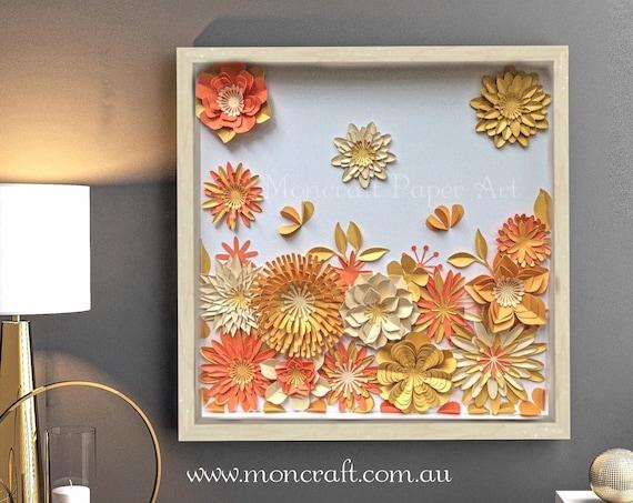 Orange , Yellow and Gold Flower Autumn theme Collage - Contemproray Modern Decor
