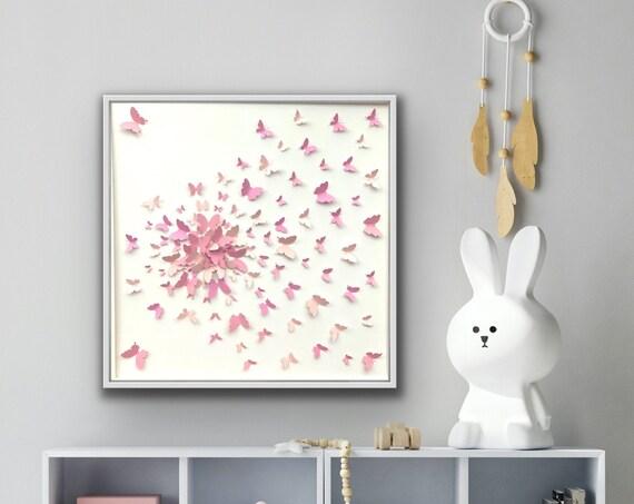 Pastel pink 3 shades butterfly wall art - Nursery Room Decor