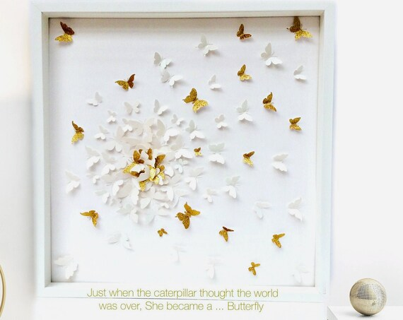 White on White Butterflies with splash of Gold butterfly wall art