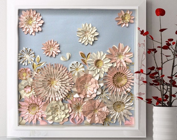Floral Collage of Pink white 3D Wall Art Decor