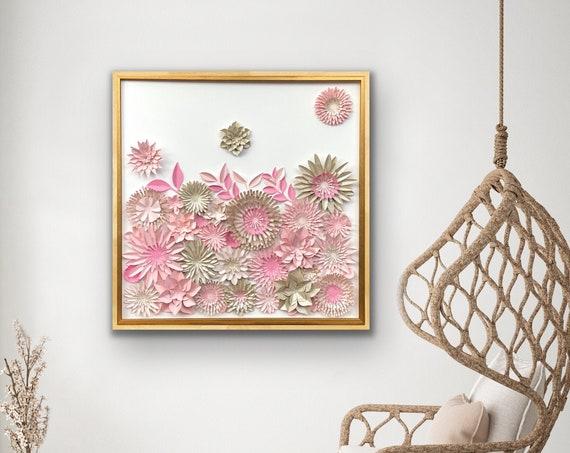 large 30 inch - Pink Beige Flowers Collage  3D Modern Wall Decor