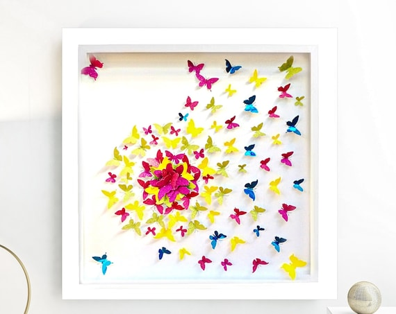 Colourful paper butterfly wall art, colored papers  butterfly art ,  modern butterfly Decor , gold paper butterfly art, girl room wall decor